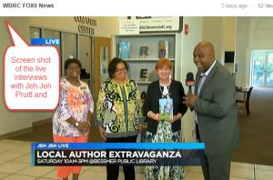 Screen shot of the live interview with Jeh Jeh Pruitt and Library Staff